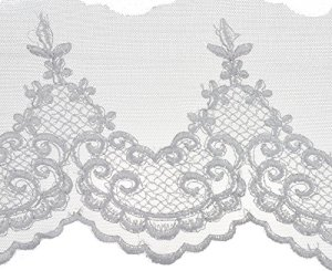 Scroll Work Embroidered Edge Bridal Tulle Trim 5″X10yd