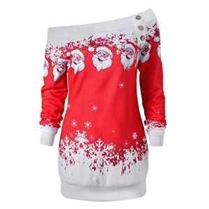 Sonnena pour femme Merry Christmas Père Noël Flocon de neige Imprimé TOPS à manches longues Chemisier longues pour homme M Red