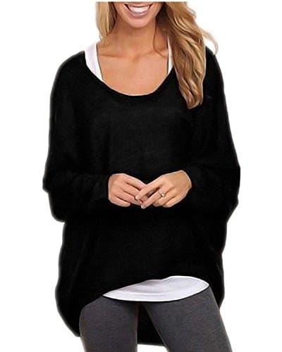 ZANZEA Femme Casual Lâche Automne Irrégulier Manches Chauve-souris Longue Pull-over Shirt Noir FR 42-44/Etiquette Taille L