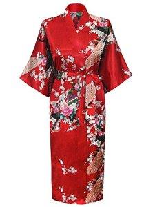 Cityoung-Kimono Japonais en Satin Sexy Robe de Chambre Peignoir-Femme (Rouge,XL)