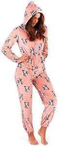 Combinaison femme loungeable Pyjama pour femmes 3D oreilles pyjama tout en un – French Bulldog imprimé, Small EU 36-38