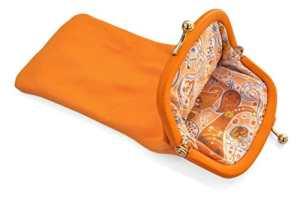 Etui à lunettes de vue ou de soleil en cuir d'agneau véritable, souple et doux (intérieur tissu type Liberty) – Orange – Fermeture clic clac dorée