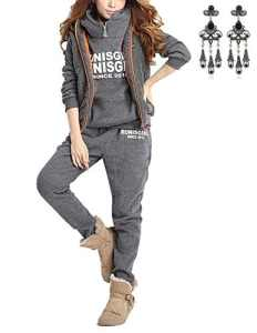Modetrend Femmes Survêtement Casual Veste Sweat à capuche Jumper Pulls Outwear Sweatshirt + Gilet + Pantalons 3pcs (Asian Small, Gris)