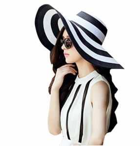Qingsun Chapeau Fedora Panama en paille Filles Plage De La Mode Anti-Uv Pliables Rayures Noires et Blanches Larges Bords Protection Solaire Chapeau de Soleil, Noir, free