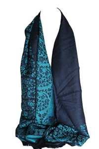 Qualité deux faces impression libre en relief Pashmina sensation Wrap écharpe étole châle (Bleu marine & Floral Turquoise)