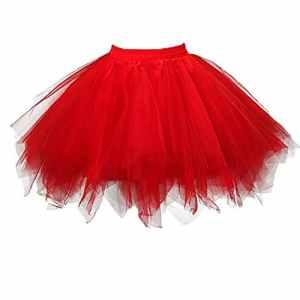 RuiyuhongE Jupon Petticoat des années 1950 Tulle Ballet Bubble Tutu Jupe (Large/X-Large, Rouge)