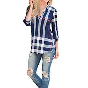 Shinekoo® Femmes col V 3/24 Manche Plaid Longue Top Chemisier en Vrac shirt