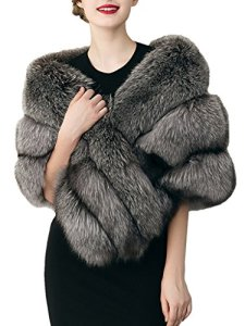 Simplee Apparel Fausse Fourrure Femme Renard Élégante Chaud Hiver Châle Écharpe Blanc Noir Gris Outwear Veste