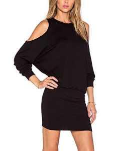 YesFashion Femme Robe Slim robe moulante Nu epaule Manches courtes Manches chauve-souris Uni robe pour Femme Noir M