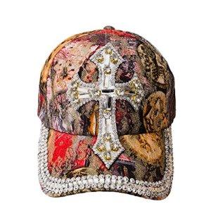 Chapeau de Soleil Femmes Ladies Sun Hat Casquette de Baseball Style VIP NY USA Couleur Fleurs de Cristal (Cap Cross)
