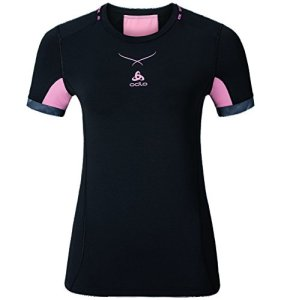 Odlo Ceramicool T-Shirt – Femme – Noir (Noir/Rose) – FR : M (Taille Fabricant : M)