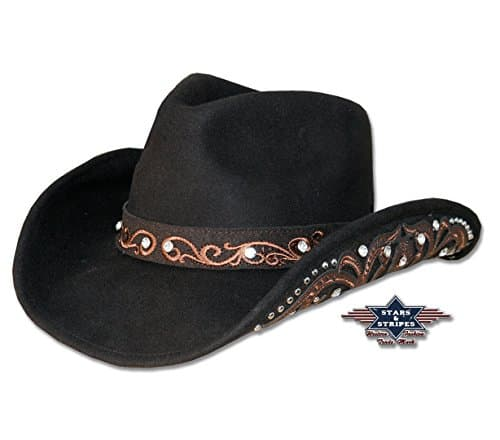 Stars & Stripes feutre chapeau Kara – noir – Medium