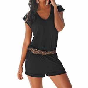 SUNNOW Femme Sexy Casuel Romper Col-V Manche Court Jumpsuit d'été Elastique Playsuit Combinaisons Short – Sans Ceinture – Large – Noir
