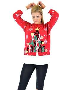 Women Ladies Flashing Sound 3D Novelty Christmas Printed Rudolph Star Angle Knitted Jumper Top