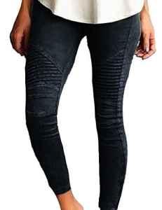 Junshan Leggings Femmes Grande Taille taille surdimensionnée Crayon Strech stretch coloré pour femmetaille Skinny Taille Haute Crayon Pantalon Slim Fit (Noir, 48)