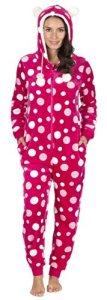 Luxe Polaire Dames Femmes Mesdames Une Piece Onesie All In One Nuit Pyjama Playsuit Survêtement – Polka ANIMAL CAPUCHE Gris Rose EUR 36 38 40 42 44 46 48 60