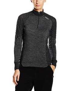 Odlo Revolution TW X-warm T-Shirt manches longues 1/2 zip Femme Gris Melange FR : S (Taille Fabricant : S)