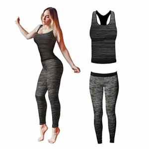 Bonjour – Vêtements de sport pour femmes: ensemble veste / gilet et top / legging, stretch-fit pour yoga et gymnastique, Black Vest Top, One Size ( UK 8 – 14 )