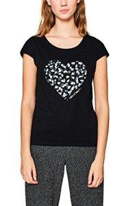 edc by ESPRIT 127cc1k093, T-Shirt Femme, Noir (Black 001), XX-Large
