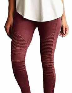 Junshan Leggings Femmes Grande Taille taille surdimensionnée Crayon Strech stretch coloré pour femmetaille Skinny Taille Haute Crayon Pantalon Slim Fit (Vin rouge, 44)