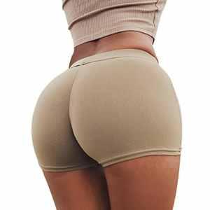 laamei Short de Yoga Danse Boxer de Sport Shorty Pantalon Court élastique Super Doux Sous Vêtement pour Femme