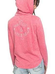 Roxy ERJFT03733 Sweat-Shirt à Capuche Zippé Femme, Rouge Red/Solid, FR : S (Taille Fabricant : S)