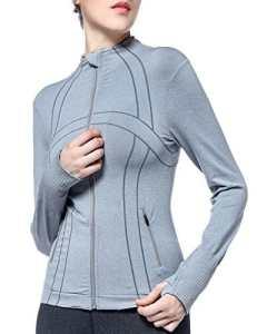 Veste de sport pour femme, Veste de survêtement antidérapante Tight Sportswear Running T-shirt à manches longues de compression avec trous pour le pouce et poches (Large, Gris clair)