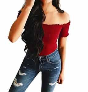 Bonjouree Chemisier Sexy Femme Manche Court T-shirt Top Blouse épaule Nu (Rouge, L)