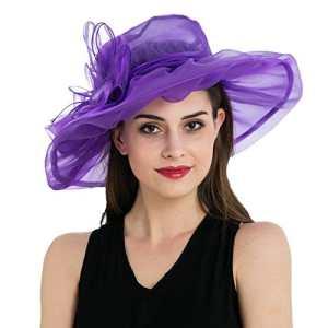 Dantiya – Chapeau bibi mariage Femme Amovible Mousseline de soie Elégante (violet )