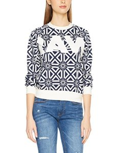 G-STAR RAW Rc Pg Cropped R Sw Wmn L/s, Sweat-Shirt Femme, Multicolore (Milk/Sartho Blue Ao 7008), Large