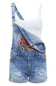 SS7 femmes Salopette Jeans florales Shorts patch, Sizes 6 to 14 – Jean Bleu, EU 36