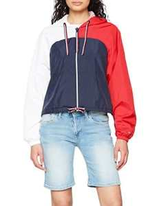 Tommy Hilfiger Th Ath Brisa Windbreaker, Veste Imperméable Femme, Bleu (Midnight/Haute Red/Classic White 901), 38 (Taille Fabricant: Small)