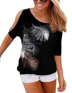 Yidarton T-Shirt Femme Eté Manche Courte Casual épaules Haut Blouse Imprimé Plume Dénudées Top (L, Noir)