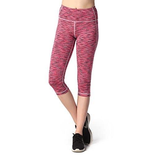 Lapasa Femme Pantalon Leggings Capri Sport Yoga Jogging Coupe genoux (XL, Rose multi-teintes)