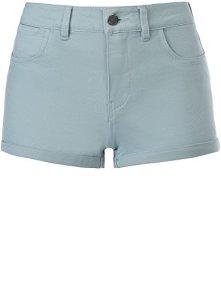 oodji Ultra Femme Short en Coton Stretch, Bleu, W28 / FR 40
