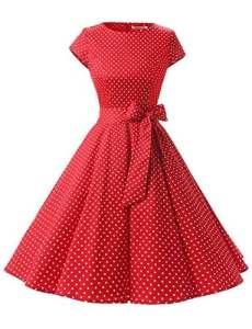 Dressystar DS1956 Robe à 'Audrey Hepburn' Classique Vintage 50's 60's Style à Mancheron Red White Dot A M