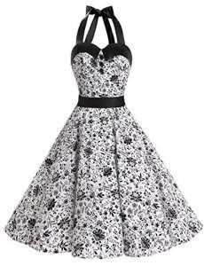 Dressystar DS1957 Robe de bal Polka Vintage pin-up à 'Audrey Hepburn' 50's 60's Rockabilly Halter,dos nu, Blanc à crâne XXL