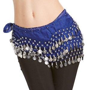 Hoter mousseline de soie pendent pièces d'argent ventre hanche foulard danse, le style de la mode – bleu royal