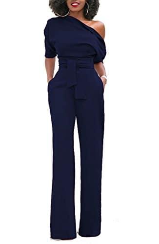 KISSMODA Womens One Off Épaule Manches Courtes Combinaison Combinaison Pantalon Barboteuse Bleu Foncé Moyen