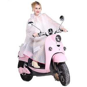 Luojida Femme Poncho-pluie Imperméable Capuche Manteau Vêtement de pluie Cape de Pluie Transparent Portable (Rose-1)