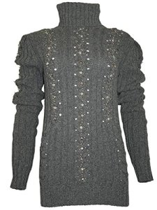 PHILIPP PLEIN Femme Designer Laine Pullover – BLACK PEARL -L