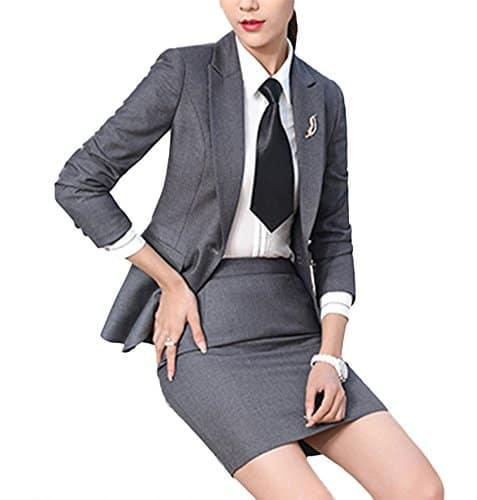 SK Studio Femmes Blazer Jupe De Bureau Tailleur Revers Casual Costume Manteau Gris 36 étiquette L