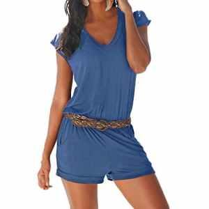 SUNNOW Combishort Femme Sexy Casuel Romper Jumpsuit D'Été Short Femme Chic Combinaisons Short – sans Ceinture (S, Bleu Foncé)