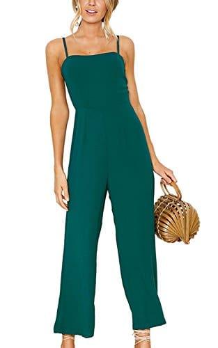 The Aron ONE Combinaison Pantalon Femme Chic Soiree Été Sans Manches Taille Haute Romper Jumpsuit ÉLégant Pantalons Longue (Vert, L)