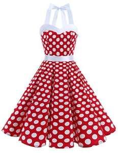 Dresstells Version3.0 Vintage 1950's Audrey Hepburn pin-up robe de soirée cocktail, style halter années 50 à pois, Rouge-Blanc S