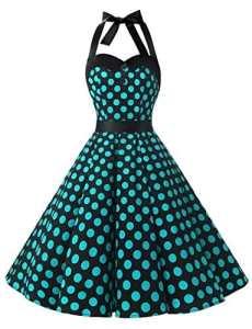 Dressystar DS1957 Robe de Bal Polka Vintage pin-up à 'Audrey Hepburn' 50's 60's Rockabilly Halter,Dos Nu, Noir à Pois Blue L