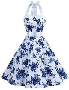 Dressystar DS1957 Robe de Bal Polka Vintage pin-up à 'Audrey Hepburn' 50's 60's Rockabilly Halter,Dos Nu, Rose à Pois Blanc XXL