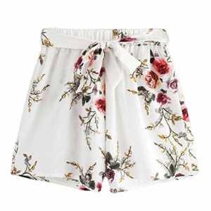Familizo❤️ Femmes Shorts de Ceinture D'Impression, Shorts de Plage D'été (Small, Blanc)