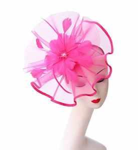 Fascinators Wedding Chapeau Cocktail Tea Party Royal Ascot Chapeaux Flower Mesh Rubans Plumes sur un bandeau et un clip de pelle pour les filles et les femmes (A1-Fluorescence Rose Red)