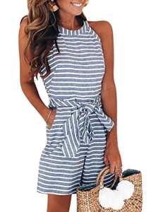 FeelinGirl Combinaison Femme Combishorts Longue Court Pantalon Rompers Taille Haute sans Manche Jumpsuit de Soirée Taille Serrée S-XL (M=FR40-42, Bleu-Court)